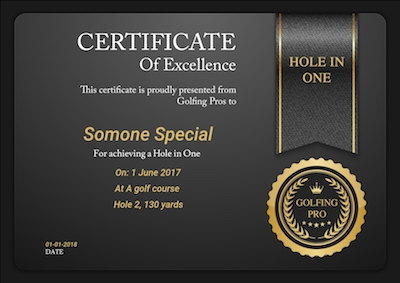 Hole in one certificate